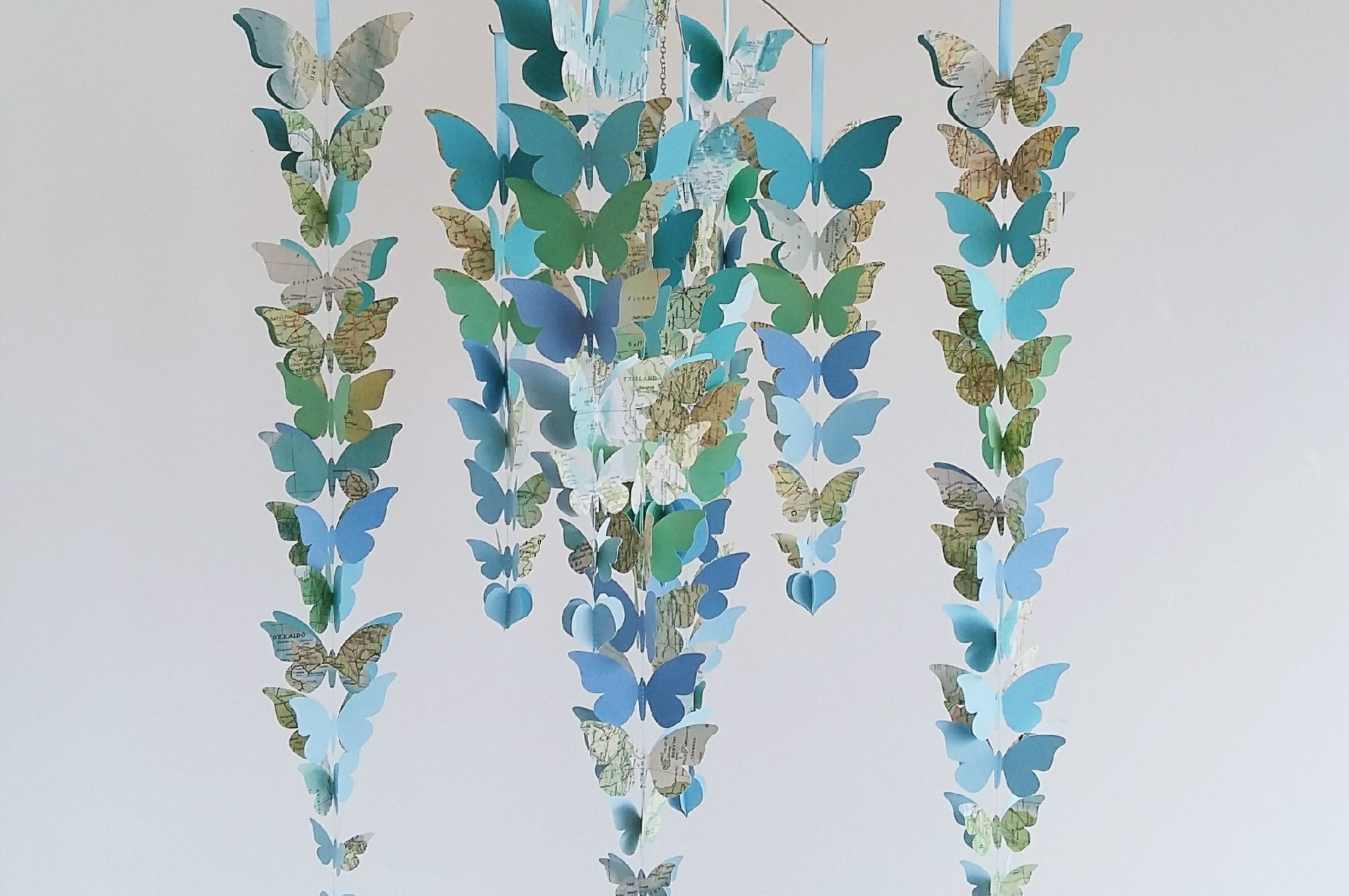 blue and teal butterfly mobile